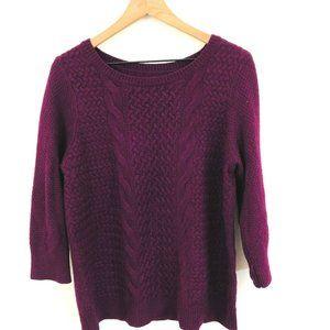 LOFT Purple Cable Knit Sweater XL